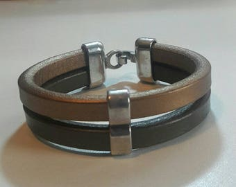 Men's Leather cuff, Bronze Gold chunky leather bracelet, gift idea for him