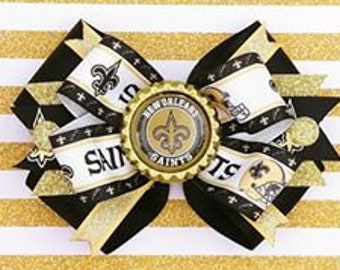 New Orleans Saints Who Dat NFL Football Hair Bow Headband Black Gold