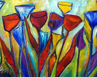 TULIPS Abstract Original Painting Flowers Modern Art Yellow Red Blue Purple HIDDEN GEOMETRY