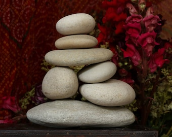 Zen Garden Rocks - Natural Beach Stone Stack - Large Ecru Pebbles - Balance - Meditation - Housewarming Gift