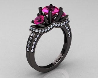 French 14K Black Gold Three Stone Pink Sapphire Diamond Wedding Ring, Engagement Ring R182-14KBGDPS