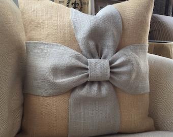 Burlap bow pillow cover in grey and natural burlap 18x18