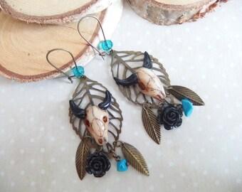 Buffalo skulls chic Gypsy western boho polymer clay earrings