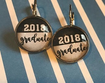 2018 graduate cabochon earrings - 16mm