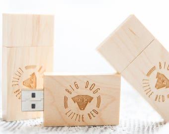 Handmade Pine wood 16gb flash drive - USB / flash drives / jump drive / Engravable