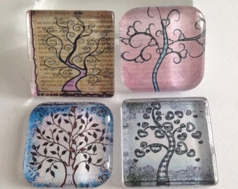 Tree of life magnets, Tree magnets, Glass Magnets, Tree of life Party favors, Kitchen magnets, Cubicle decor, Teacher gift, Kitchen decor