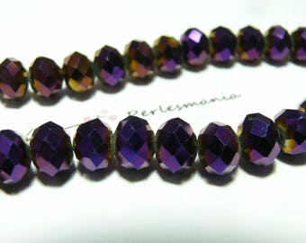 10 faceted purple rondelle 8 by 10mm ref 2J1209