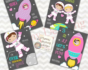 Outer Space Valentine Cards for Girls, Astronaut Kids Valentine Day Cards, DIY Printable Valentines, school valentines, cosmic valentine tag