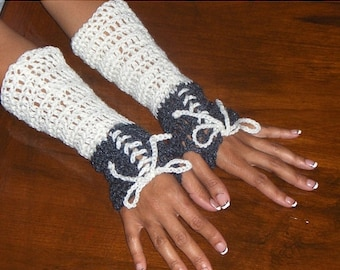 Victorian Arm Warmers Fingerless Gloves Texting Gloves Handmade Crocheted White & Charcoal Gray crocheted lace up bow Victorian Style