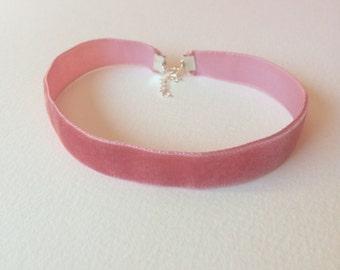 Handmade baby pink velvet choker
