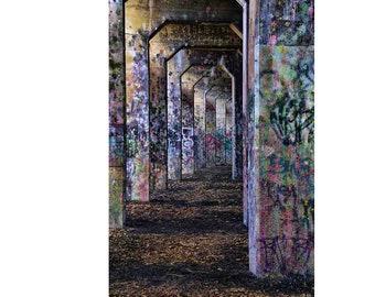 Graffiti Print, Urban Decor, Street Art, Graffiti Art, Archway, Urban Decay, Purple, Pink, Blue
