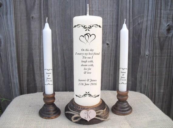Candle Poem For Wedding Gift: Personalised Wedding Unity Candle Set Gift Keepsake Hearts