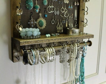 ON SALE Scroll Trim Series Wall Mounted Jewelry Organizer with Bracelet Bar, Necklace Holder