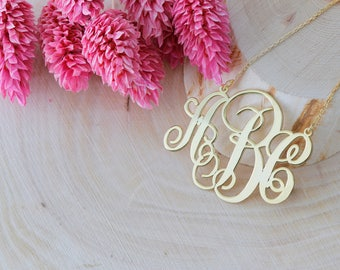 Personalized Monogram Initial Necklace, Letter Necklace, Name Necklace, Custom Necklace, Silver Necklace, Gold, Rose, Gift