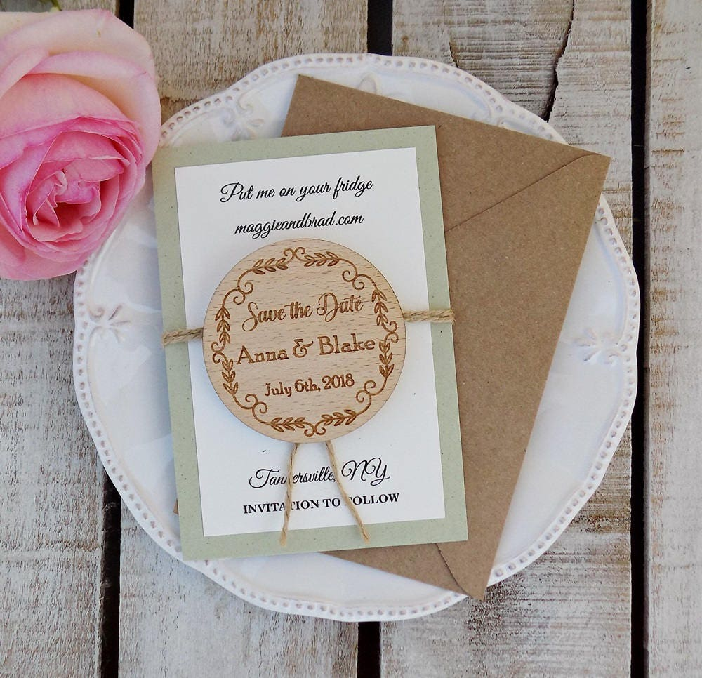 Wreath Save The Date Magnet Sage Green Wedding Magnet Wooden