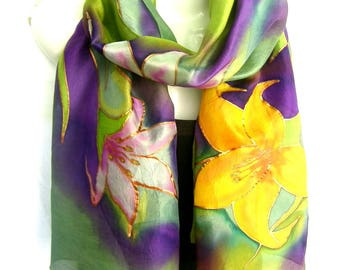 """Floral Silk Scarf, Lilies, Hand Painted Silk Scarf, Green Purple Multicolor, 71"""" Long Scarf,  Silk Chiffon Scarf, Gift For Her"""