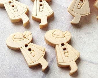 23 x 13 mm (One-Sided) Wooden Little Boy Buttons (.mu)