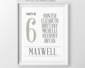 Party of 5 Gift For Her Pregnancy Gift Baby Announcement Gift For Mom Gallery Wall Art Party of 4 Family Number Sign Party of 6 New Mom Gift