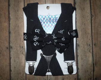 Suspender Set/Bow Tie,Bow Tie Set, Suspender/Bow Tie Set , Skull