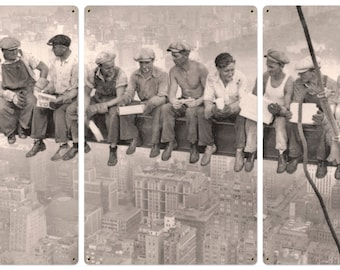 """Lunch Atop A Skyscraper Triptych Metal Sign, Americana, Wall Decor, Wall Art 72""""x36"""" and 36""""x18"""""""