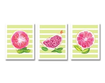 Tropical Fruits Art Prints - Pomegranate Wall Art - Guava and Grapefruit Prints - Modern Kitchen Art - Set of 3 - Lime Decor - Printable