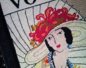 Art Nouveau Large Vintage Vogue Cross Stitch Art Ready to Hang