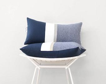 Metallic Silver Stripe Pillow Cover in Navy and Cream - Modern Home Decor by JillianReneDecor - Chambray - Colorblock - Nautical Pillow