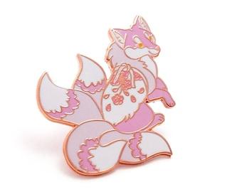 Four Tailed Sakura Fox Hard Enamel Pin (seconds)