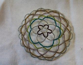 Floral Beaded Kippah/ Yarmulke
