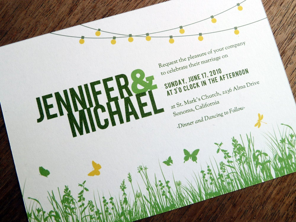 Printable Wedding Invitations Garden Party String Lights