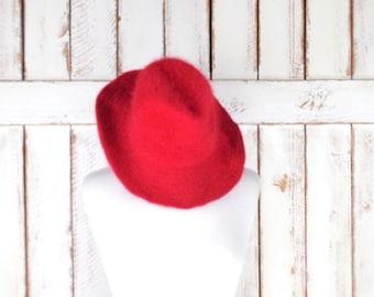 Vintage Peter Grimm red angora fur fedora hat