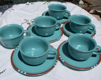 Dansk Mesa Turquoise Set of 6 Cups and 5 Saucers Discontinued & Dansk mesa | Etsy