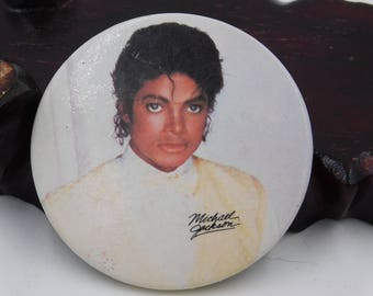 Vintage 1980's Michael Jackson Fan Photo Pin Pinback Button Badge Dr 24
