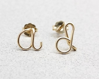 Lowercase Gold Filled Initial Earrings, Initial Jewelry, Tiny Studs