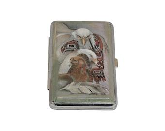 Metal Cigarette Case, Cigarette Box, Decorated Cigarette Case, Cigarette Holder, Vintage Decoupage Cigarette Case, Business Card Holder