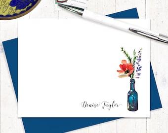 papeterie personnalisée ensemble - aquarelle fleurs en bouteille de vin bleu - ensemble de 12 cartes plat - choisir couleur de l'enveloppe - carte de fleur de coquelicot