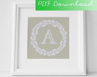Grace Wreath Monogram (A) Cross Stitch PDF Pattern Digital Download