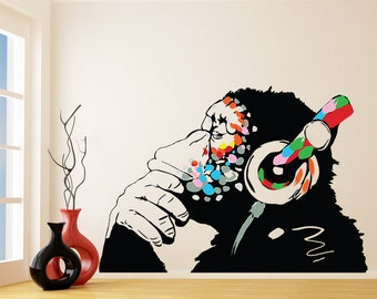 Banksy Vinyl Wall Decal Monkey With Headphones - Colorful Chimp Listening to Music Earphones - Street Art Graffiti Sticker + Free Decal Gift
