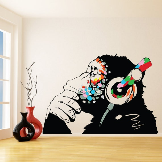 Banksy Vinyl Wall Decal Monkey With Headphones Colorful - Custom vinyl wall decals graffiti