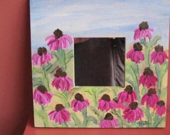 Handpainted Mirror - Purple Coneflowers - Wall Mirror - Great Gift for a Gardener!