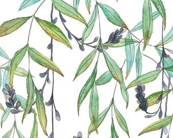 A5 Art Print / Postcard, Tropical Twigs, Illustration, Watercolor and Pen