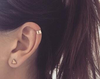 Plain Gold Ear cuff solid 9ct ear wrap jacket trend yellow gold carat minimal 9k helix