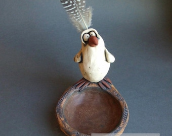 Goofy White Bird on Nest Sculptural Ceramic Dish