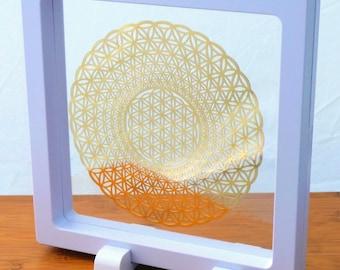 4 inch Framed Spiral Flower of Life 18K Gold Plated Healing Grid