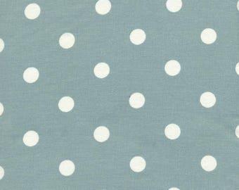 Toile cirée Au Maison bleu-vert céladon pois blanc sur mesure vendu a la coupe