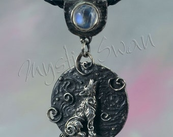 Spirit Wolf Fantasy Pendant with Accent Stone Bail in Sterling Silver
