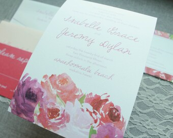 Boho Wedding Invitation, Watercolor Floral Wedding Invitation, Blush Floral Invitation, Formal Boho Wedding, Peony | Isabelle & Jeremy