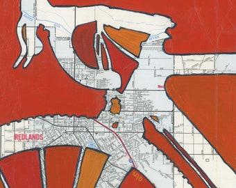 Redlands print -  designed for the Strada Rossa V 2018 bike race -  bicycle print, bike art, California