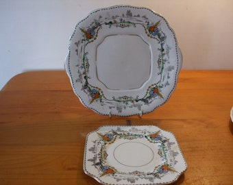 Lawleys China Class Art Deco cake/bread plate and tea/side plate