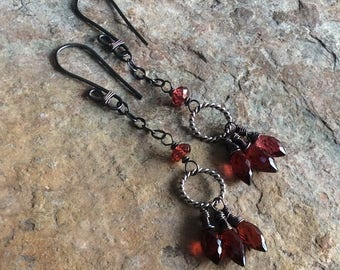 GARNET earrings, sterling silver jewelry, RED gemstone earrings, handmade artisan jewelry, Angry Hair Jewelry